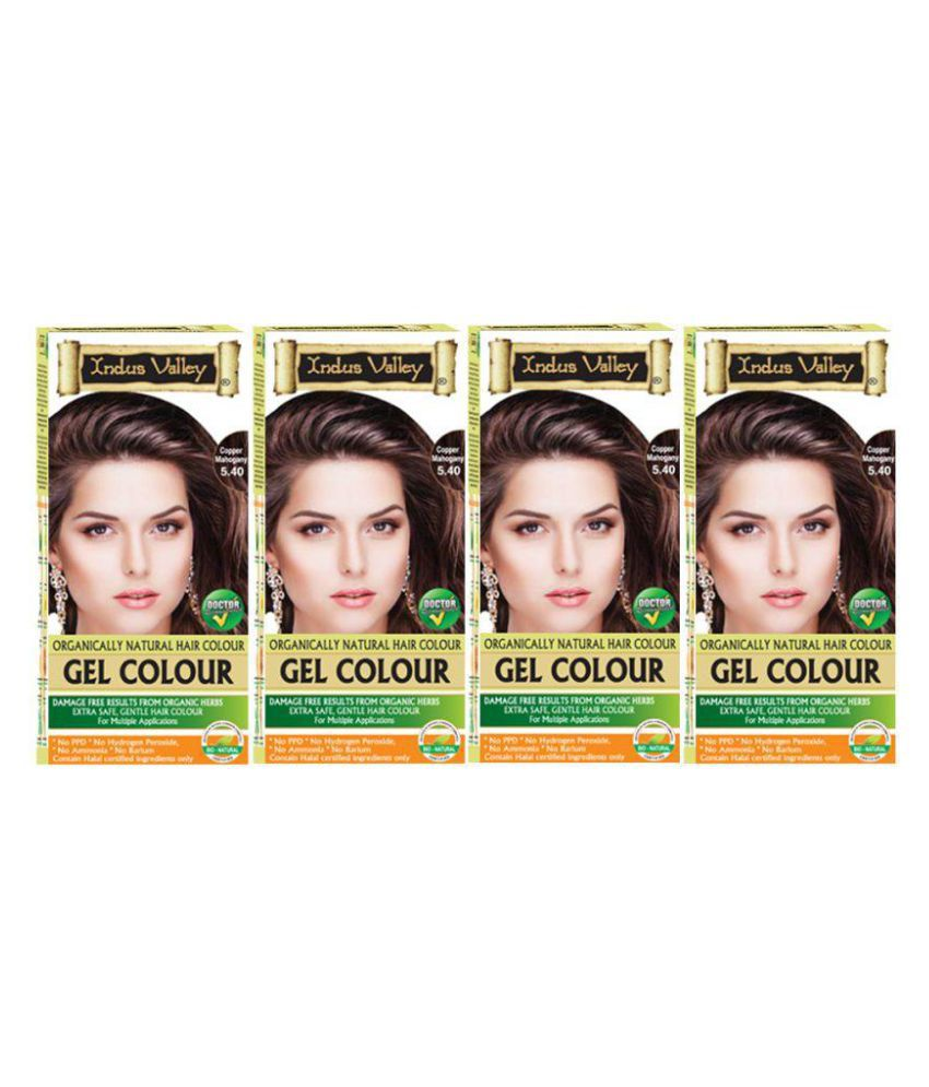 Indus Valley Organically Natural Hair Colouring Kit Permanent Hair Color Mahogany Copper 5.4 800 mL Pack of 4