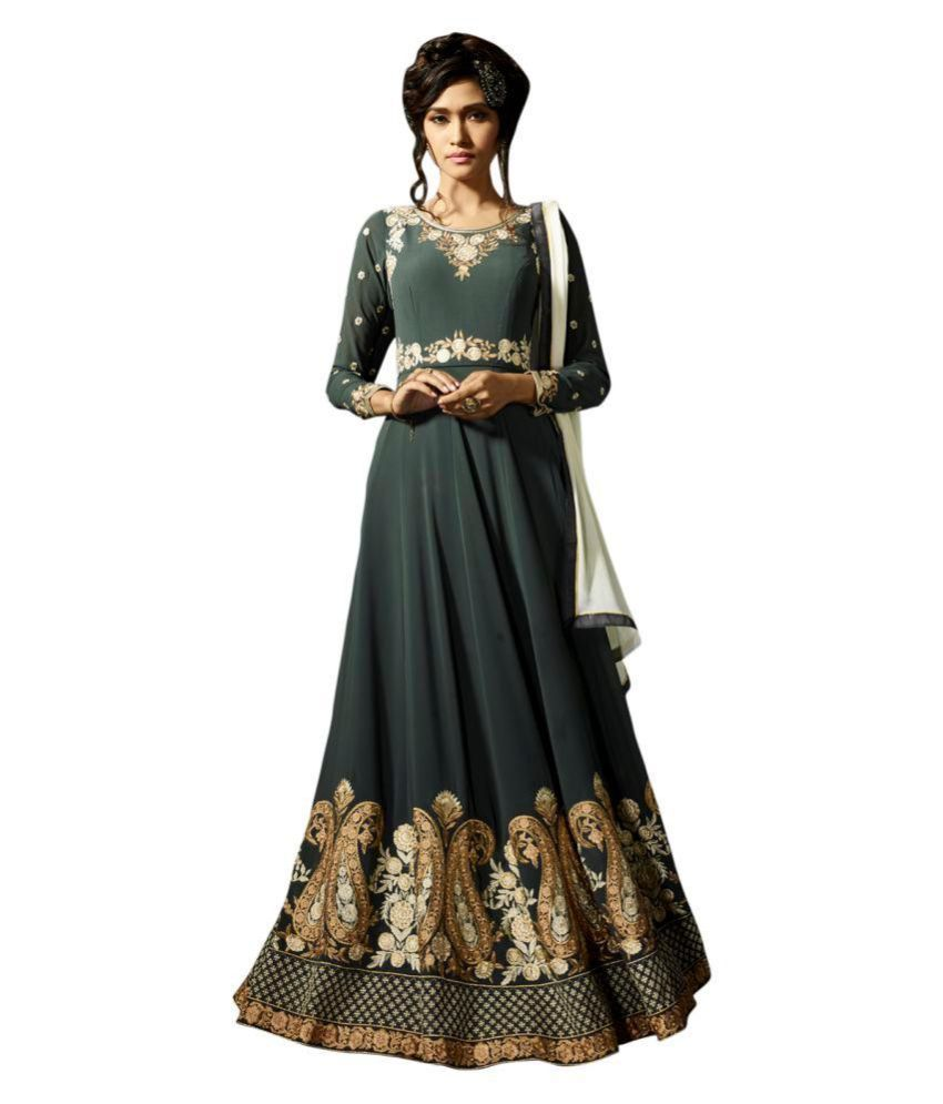 Stylee Lifestyle Grey Georgette Dress Material