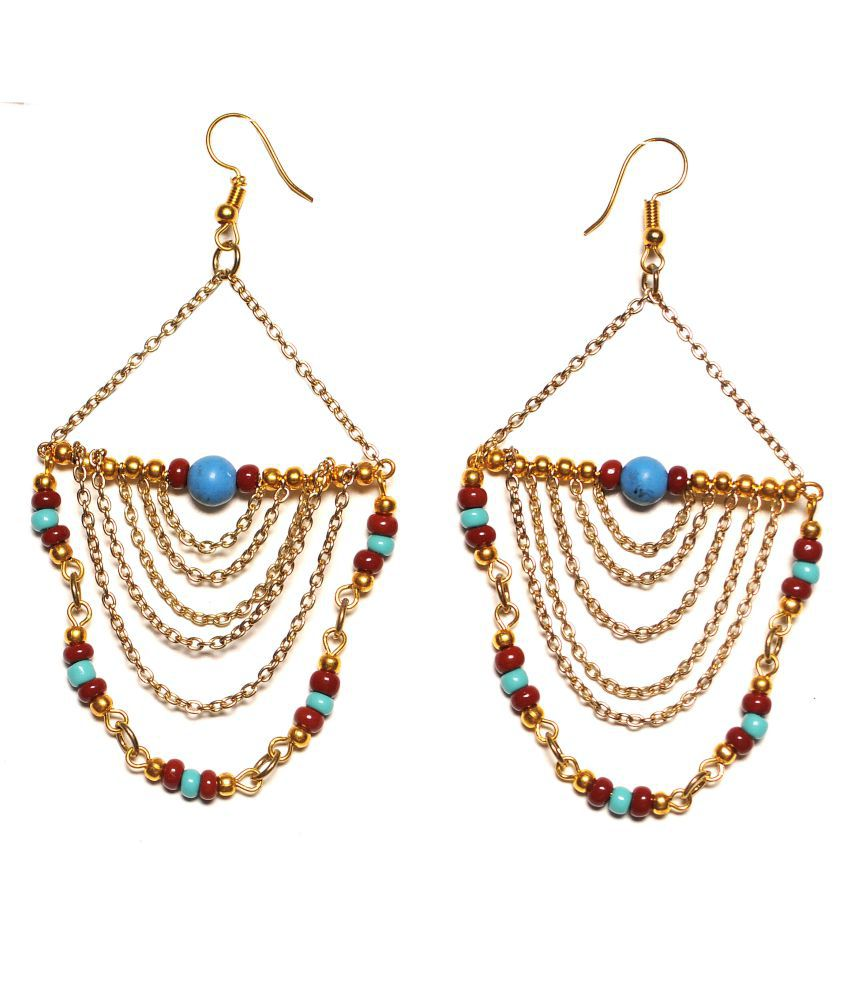 Zurii Gold Plated dangle multi layer Earrings.