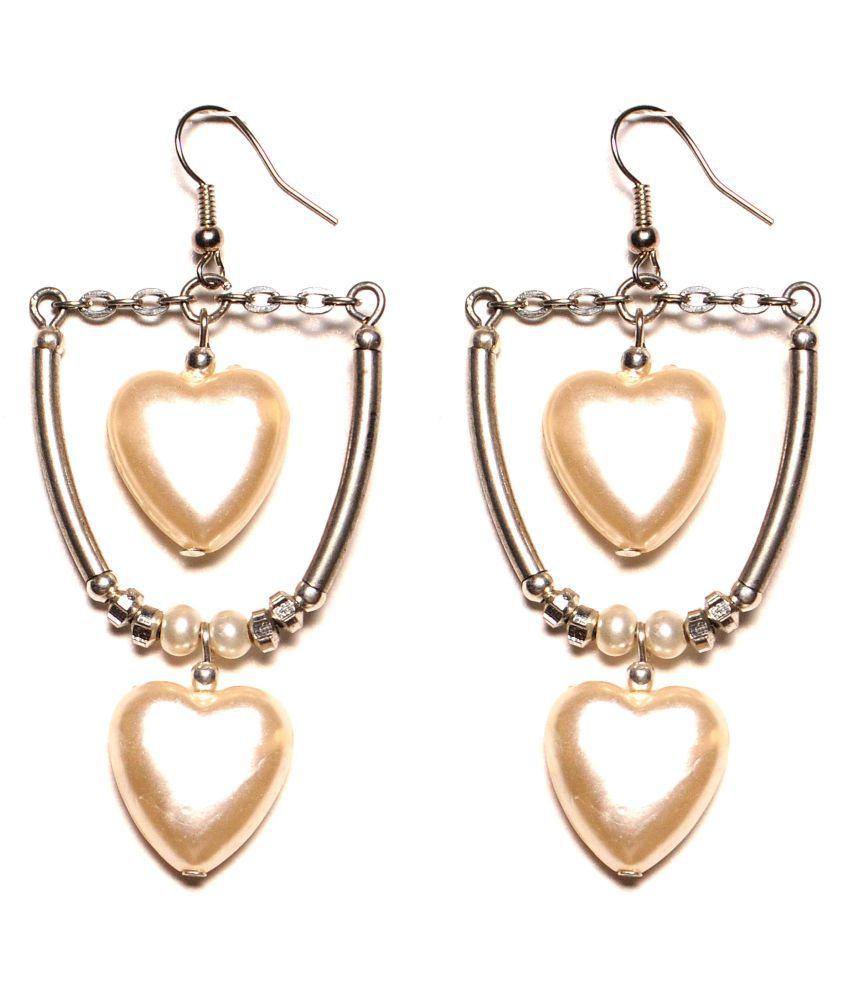 Zurii curve drop heart bead dangle Earring