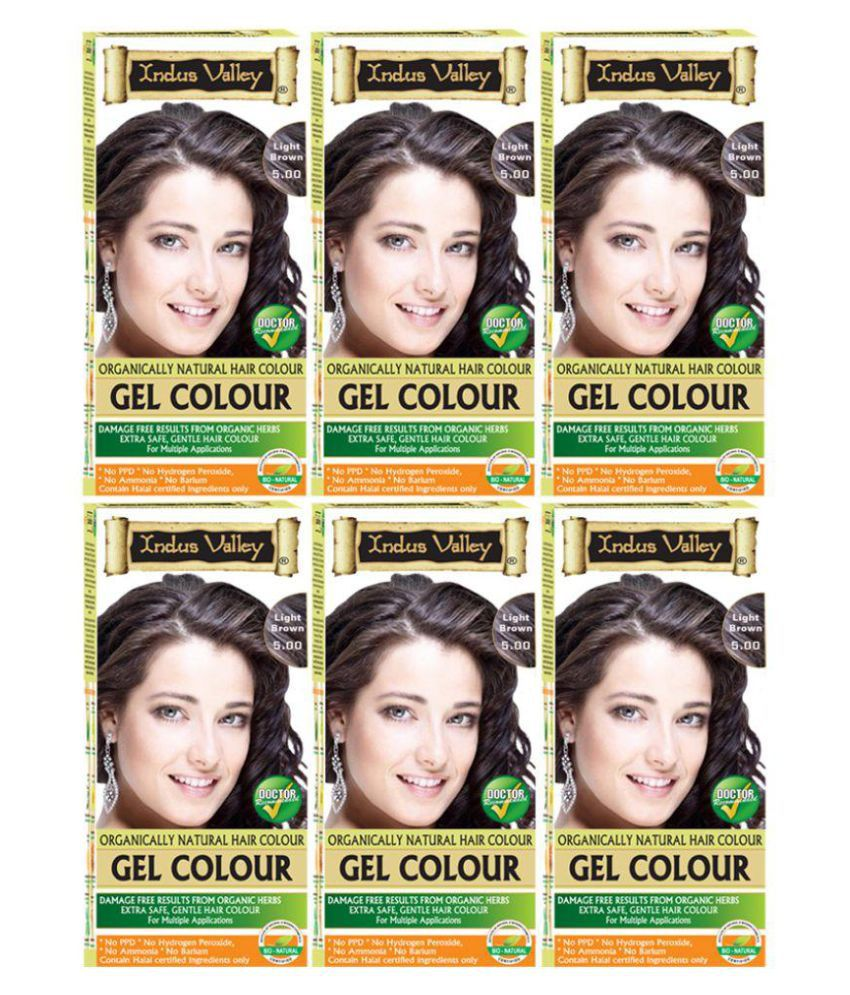 Indus Valley Organically Natural Gel Hair Dye For Grey Coverage Permanent Hair Color Light Brown 5.0 1200 gm Pack of 6