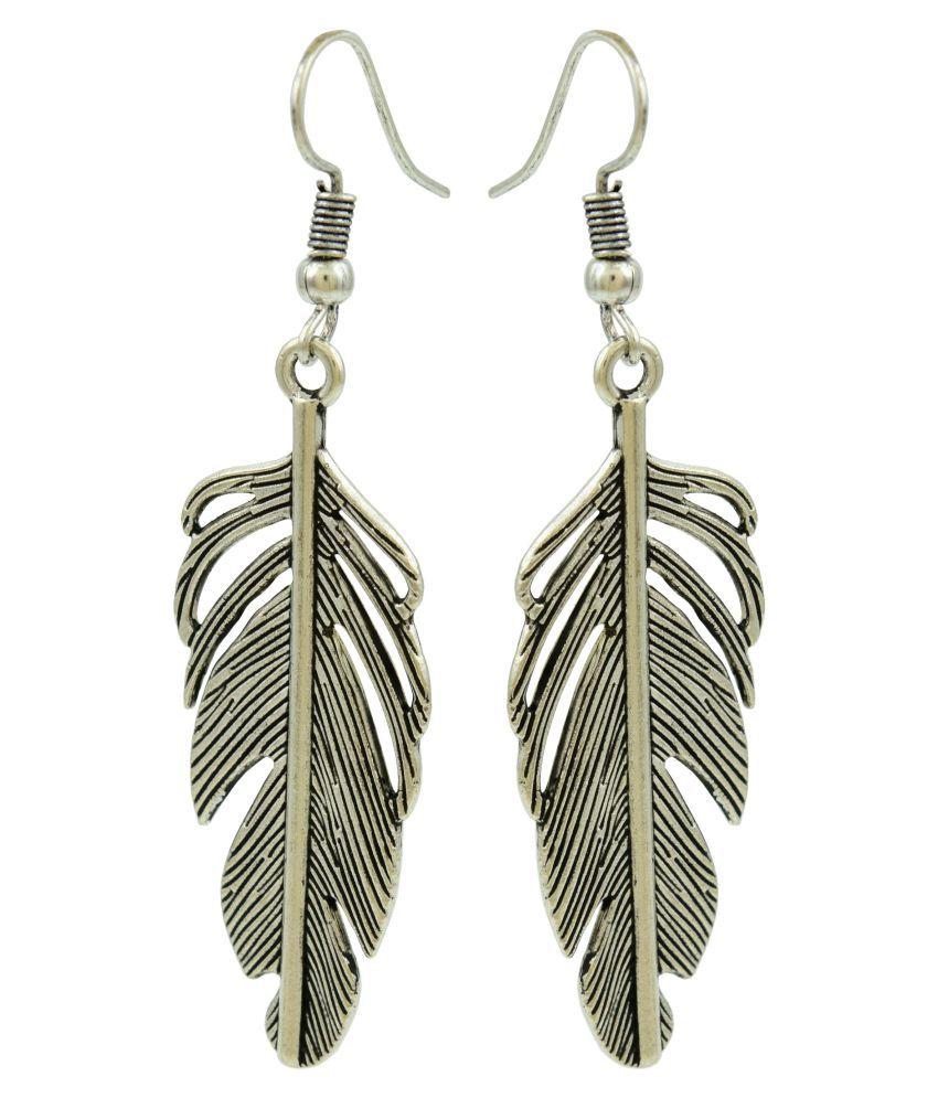 High Trendz Handmade Tribal German Silver Leaf Dangle Earrings For Women And Girls