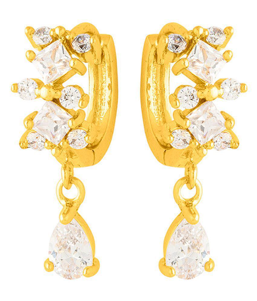 Voylla  Beautiful Gem Embellished Huggie Earrings