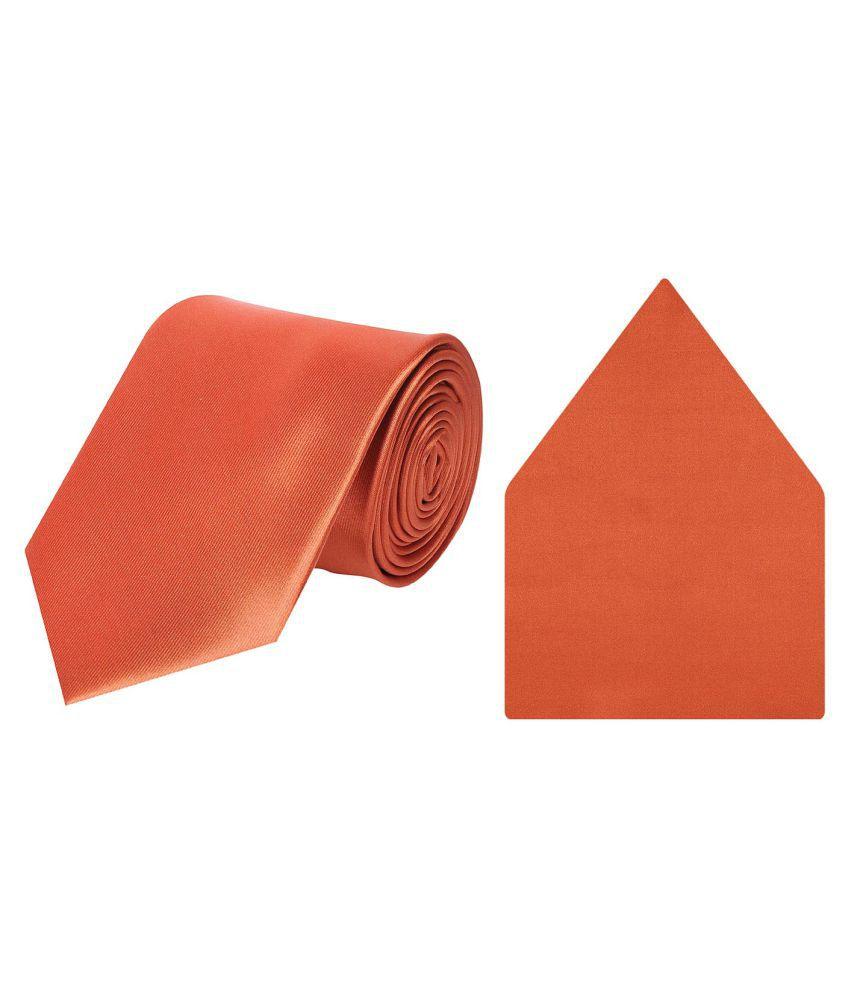 Tiekart Orange Plain Solids Tie + Pocket Square Combo