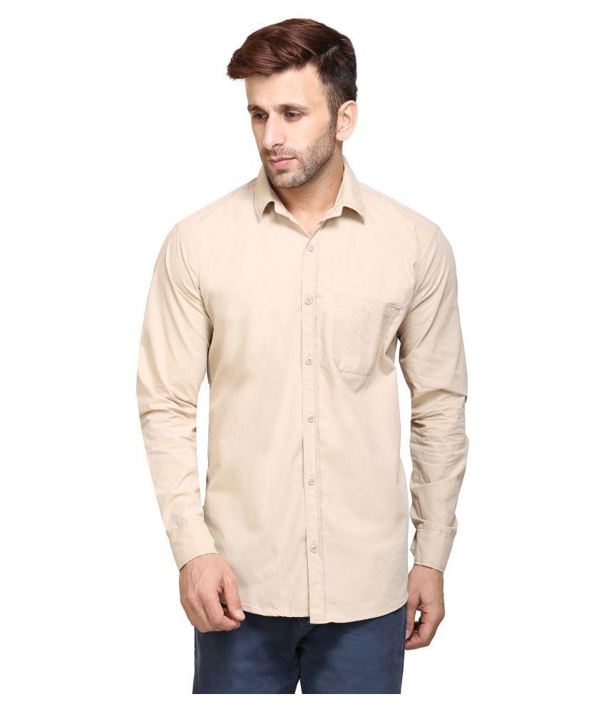 Maggivox Beige Casual Regular Fit Shirt