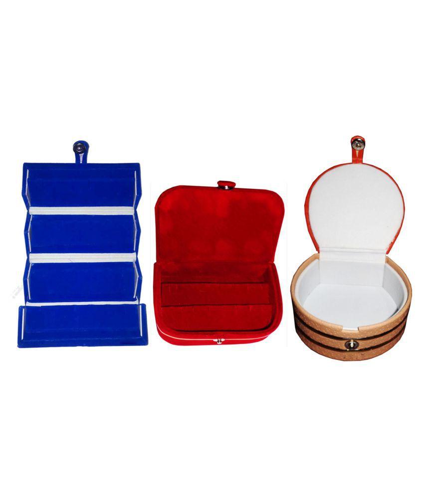 Phoenixfaso Combo 1 pc blue earring folder  1 red ear ring box and 1 pc bangle box jewelry vanity case