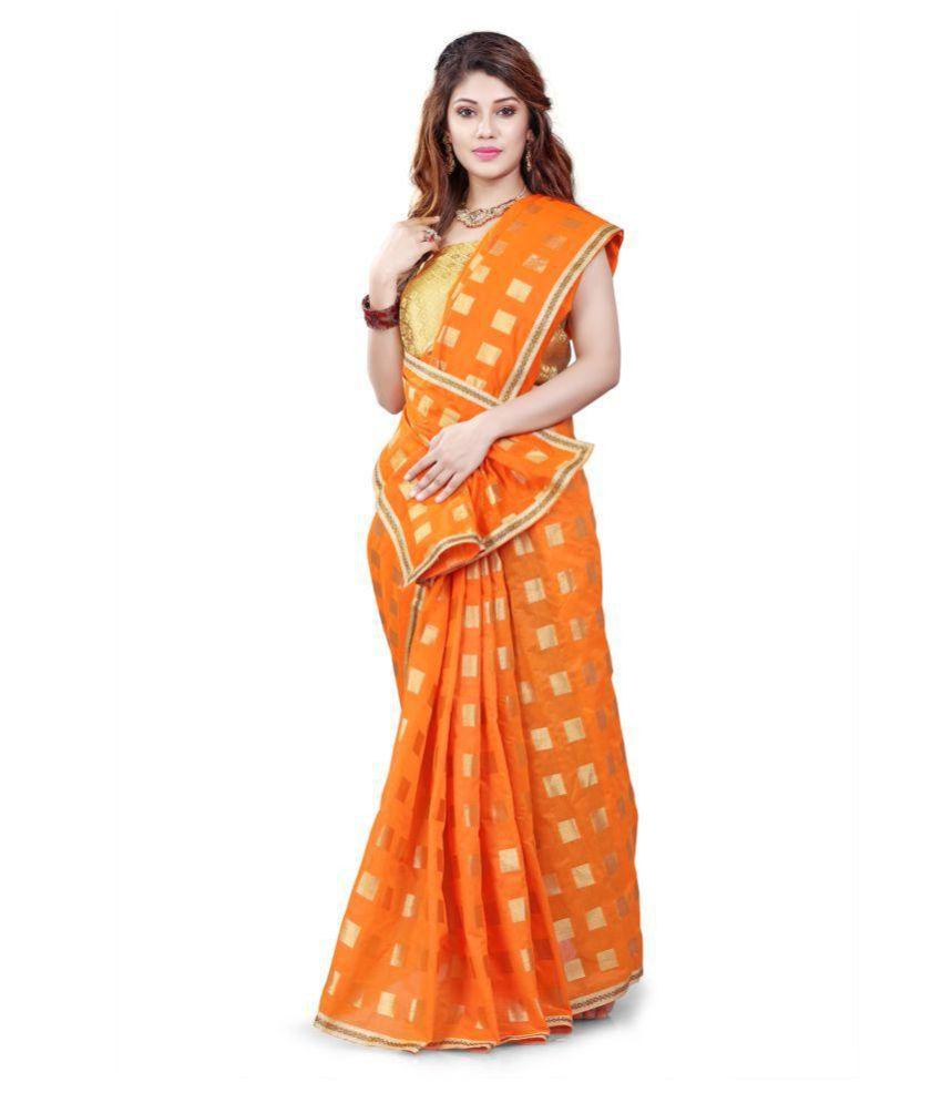 EDEAL ONLINE Orange Jacquard Saree