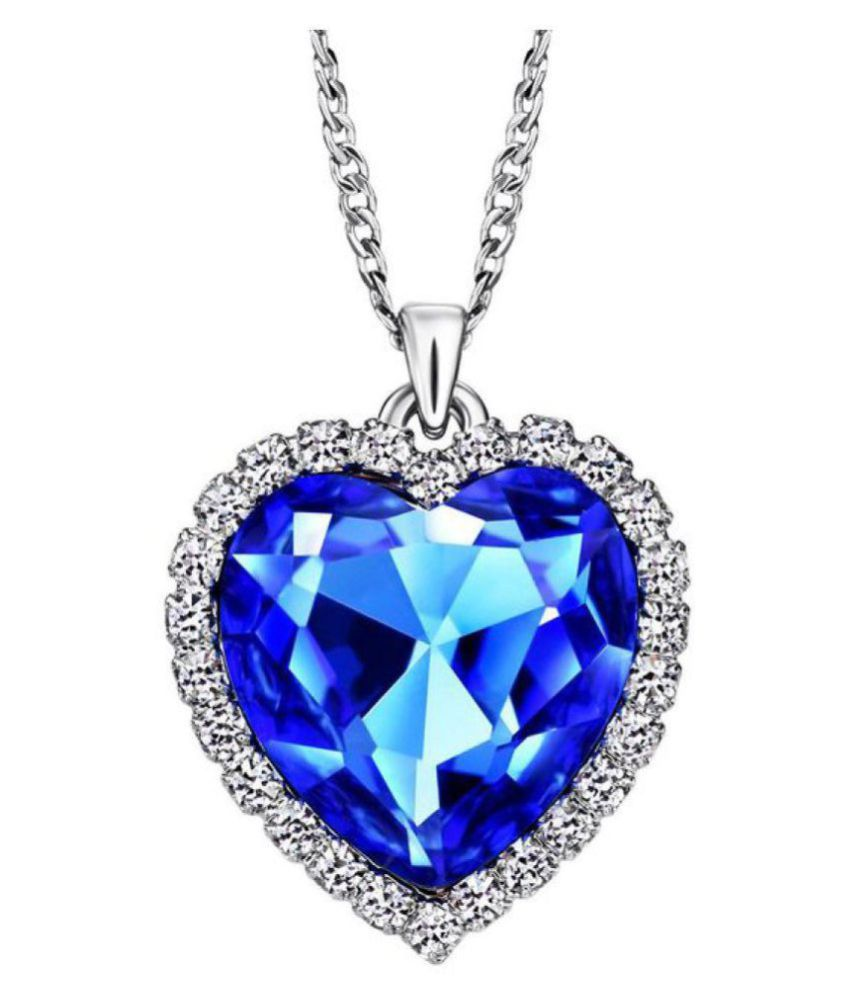 eleganzza blue heart love pendant with chain for women buy