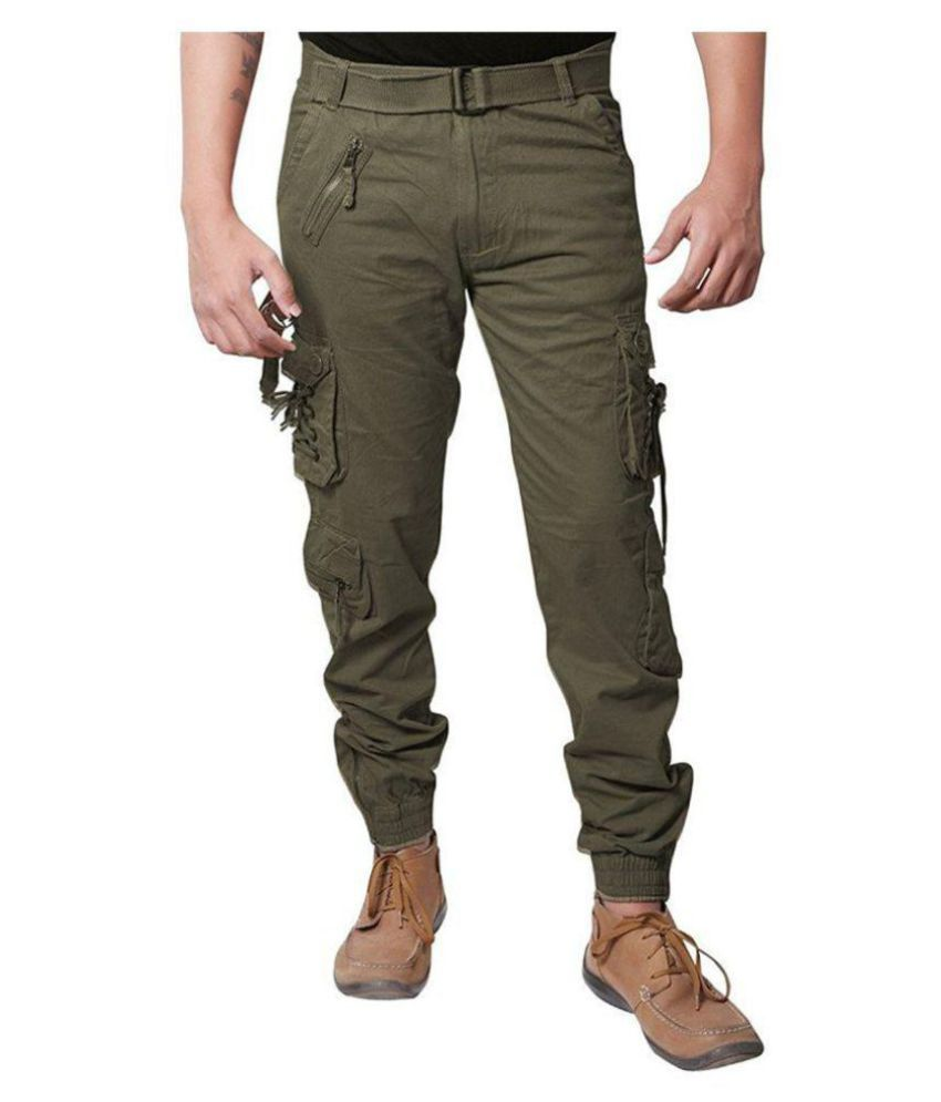 DORI STYLE RELAXED FIT ZIPPER CARGO PANTS FOR MEN(Green)