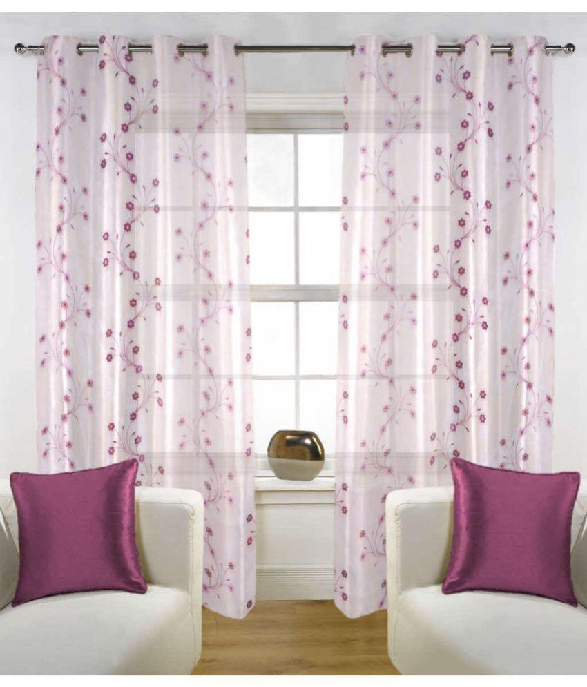 Fabutex Set of 2 Door Eyelet Curtains Floral Pink