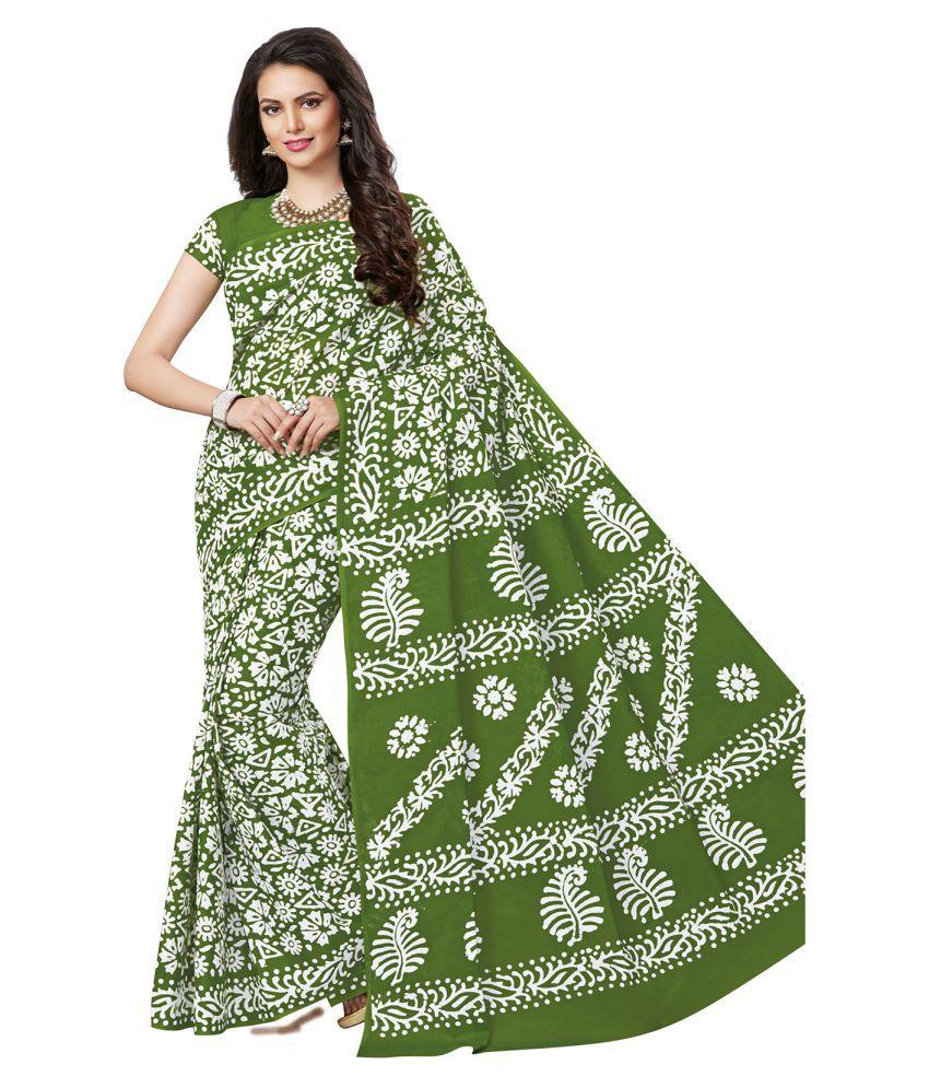 Ishin Green Cotton Saree