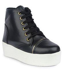 Do Bhai Black Ankle Length Combat Boots