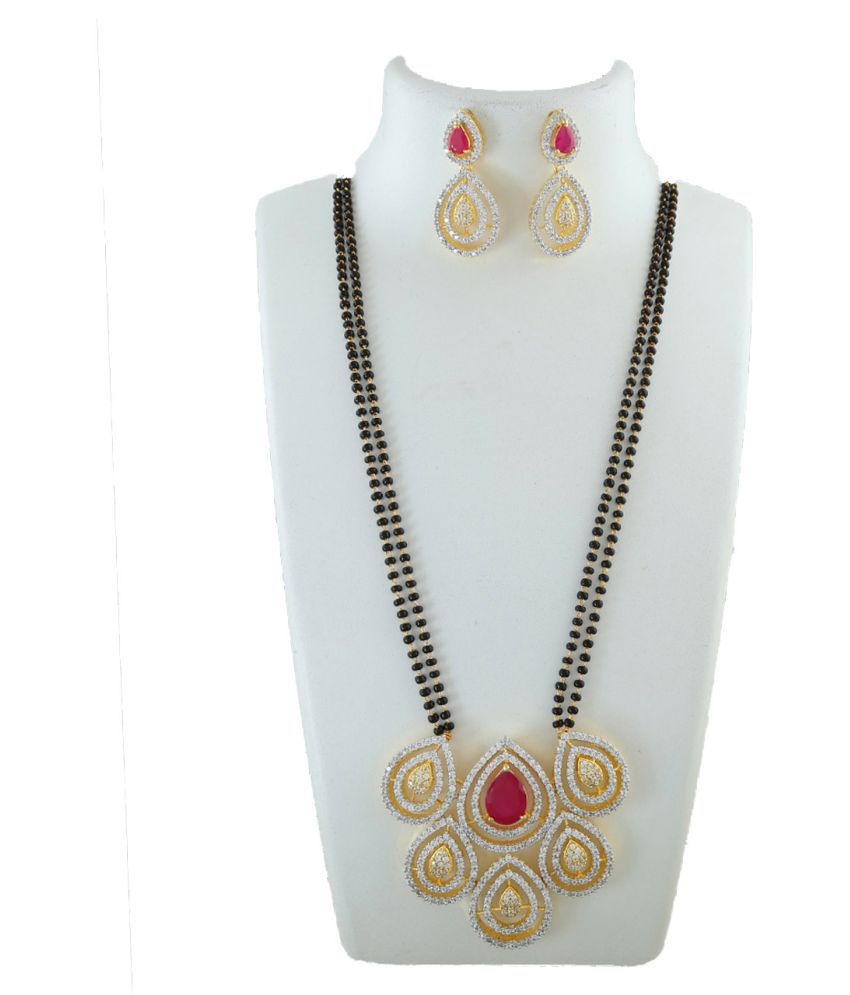Anuradha Art Pink Colour Studded American Diamonds Pendant Of Black Beaded Chain Designer Mangalsutra For Women