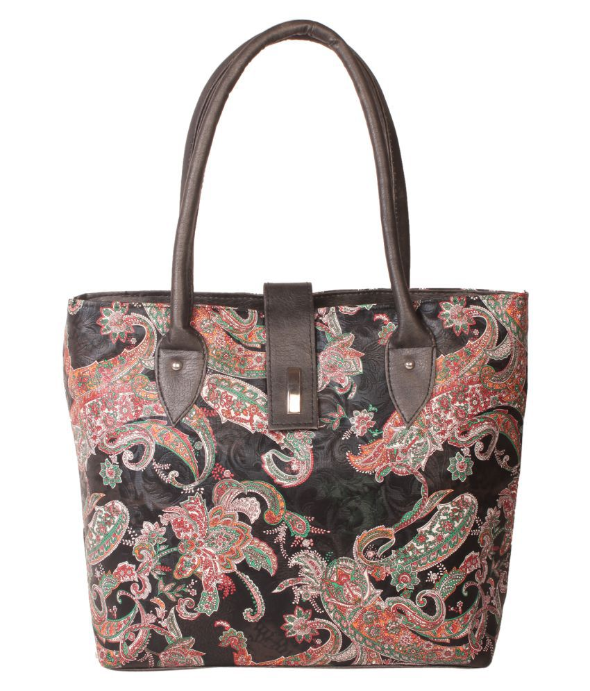 Zornna Black Faux Leather Shoulder Bag