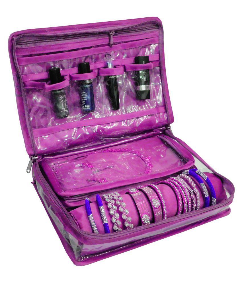 AtorakushonLocker Jewellery Kit / Jewellery box/Wardrobe Organiser/Regular Make Up Kit/ Wedding Collection Gift In satin Makeup Vanity Box(Purple)