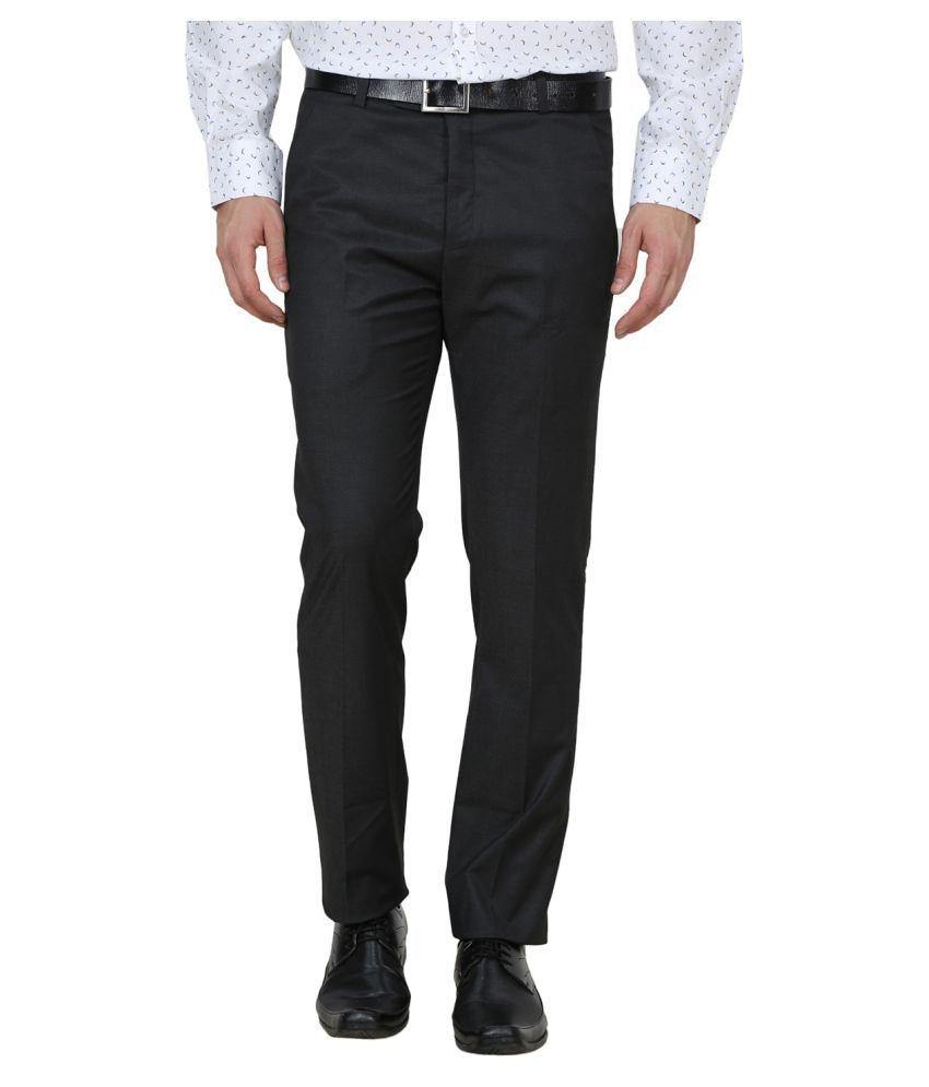 La Mode Grey Regular -Fit Flat Trousers