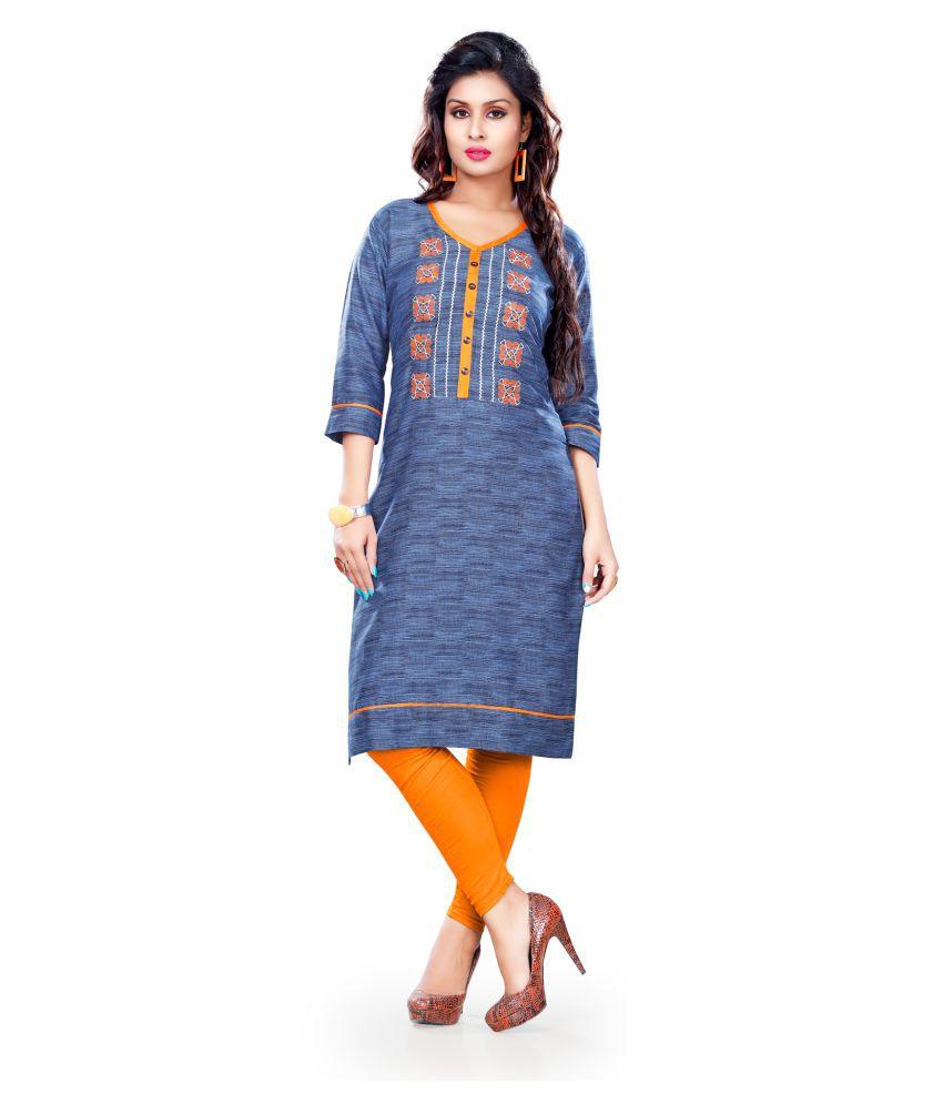 Bhavika Fashion Blue Cotton Straight Kurti