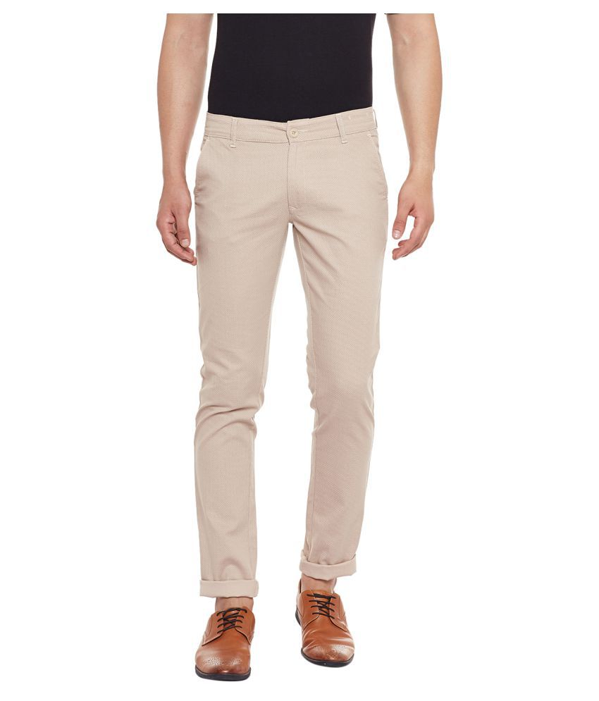 Canary London Beige Tapered -Fit Flat Chinos