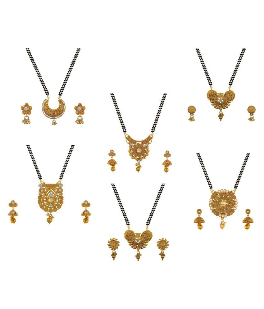 Aabhu Stylish Combo of 6 Mangalsutra with Earrings Pair Jewellery Set for Women