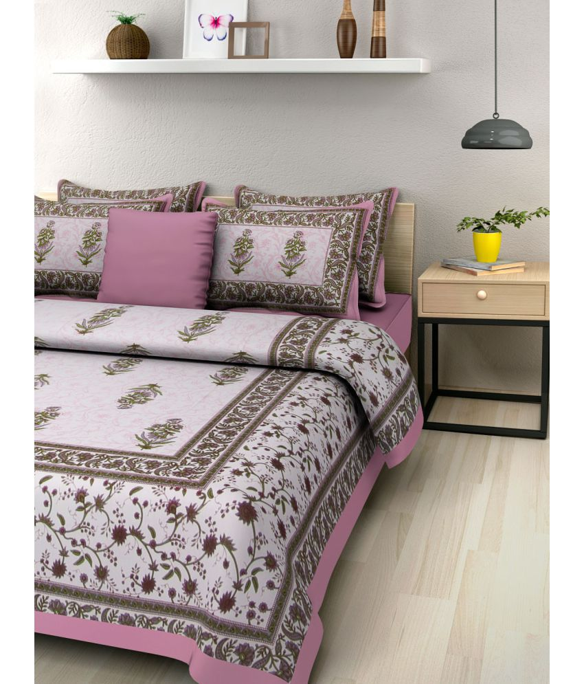 Bombay Spreads Cotton Double Bedsheet with 2 Pillow Covers