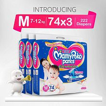 MamyPoko Pants Extra Absorb Medium Size Diapers (74 Count, Pack of 3)