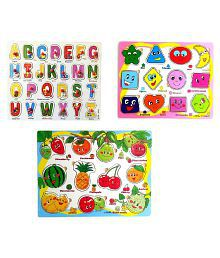 Wishkey Wooden Colorful Learning Educational Puzzle Set of 3