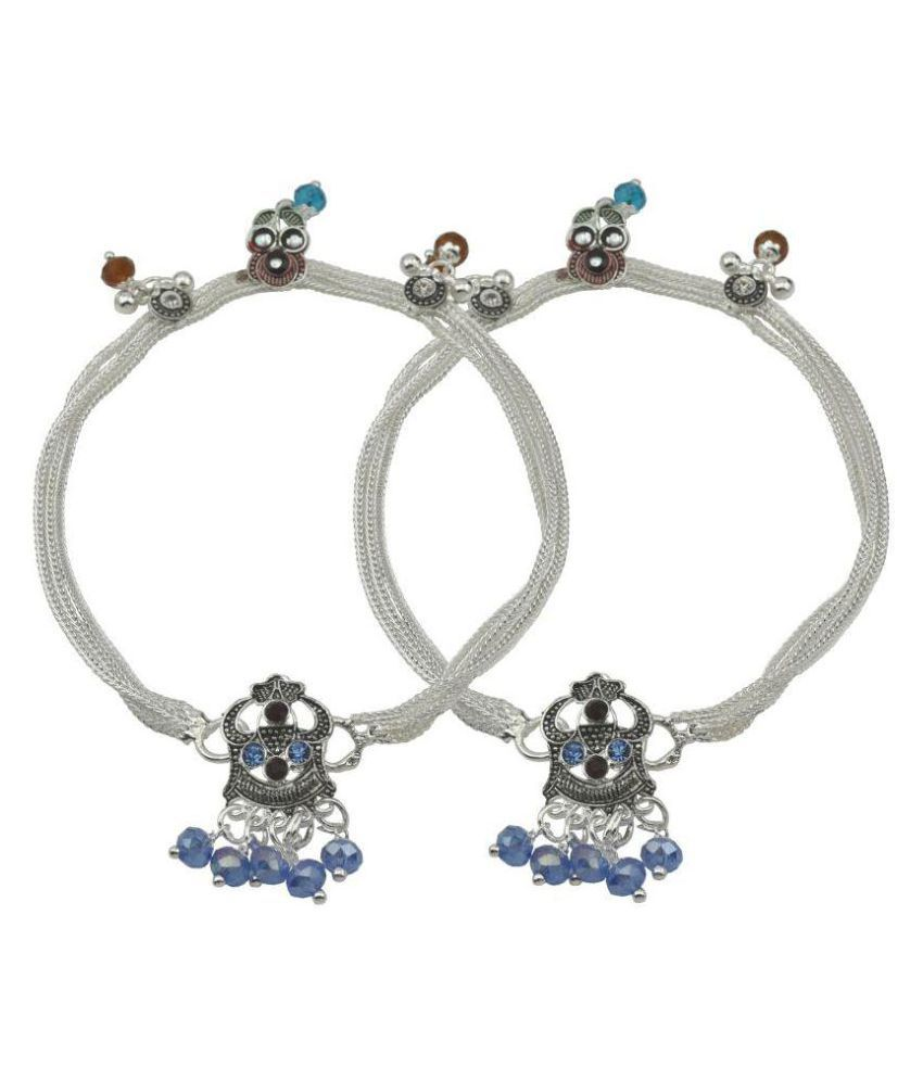 High Trendz Multicolor Crystal Beaded Silver Alloy Anklet