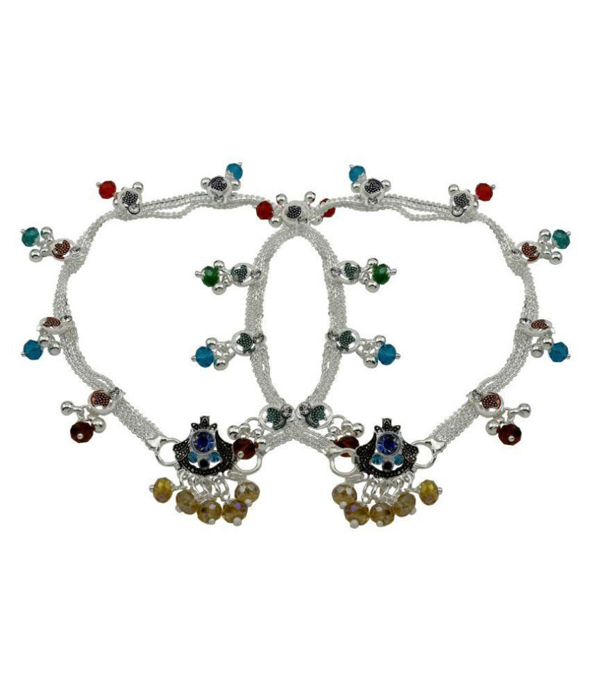 High Trendz Multicolour Crystal Beaded Silver Plated Anklets