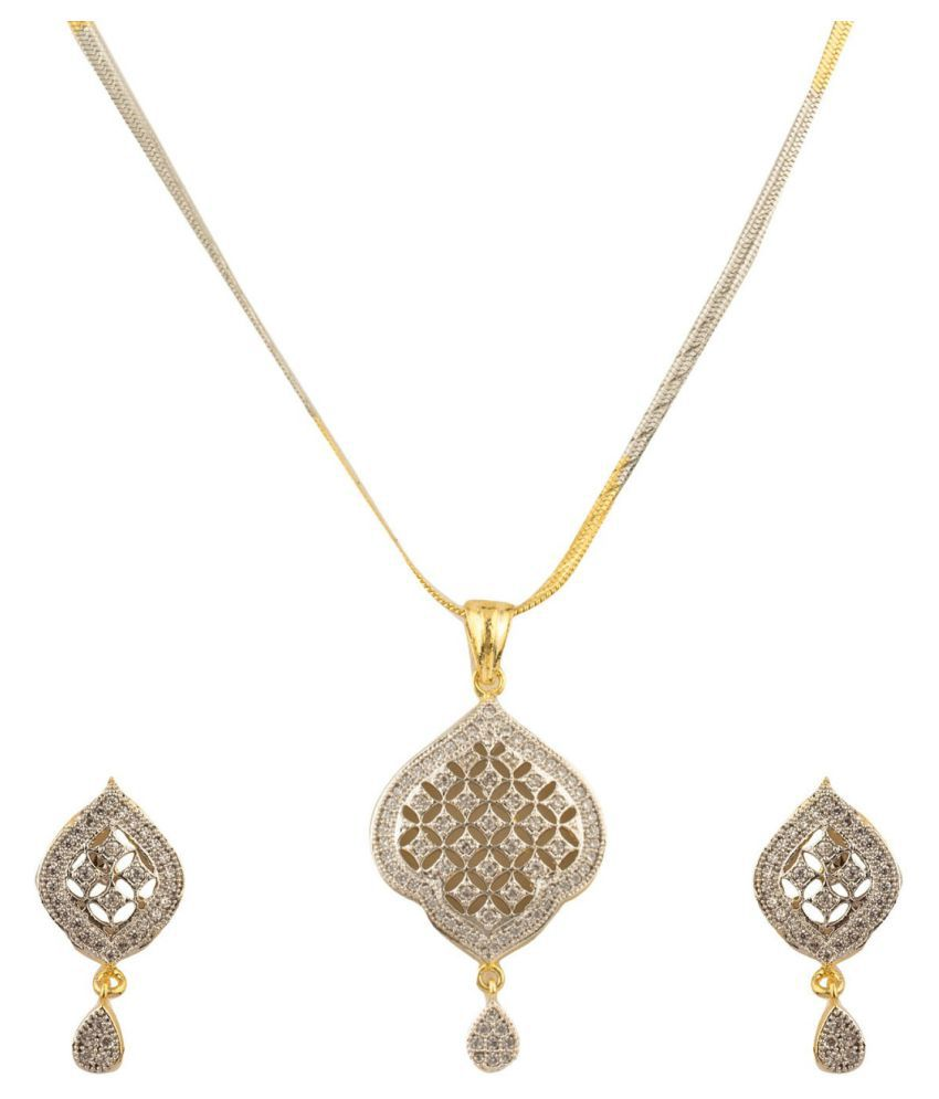 Aabhu Gold Plated Exclusive American Diamond Pendant Set Necklace With Earrings Jewellery For Women And Girls