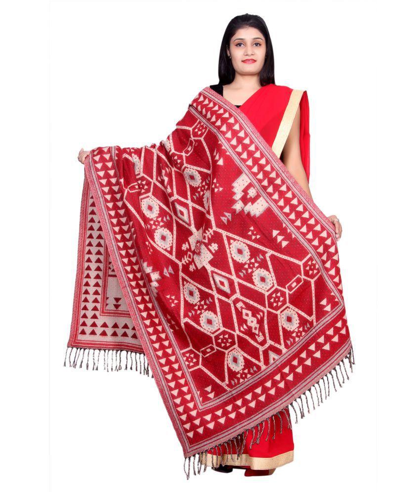 Rama Red Geometric Shawl