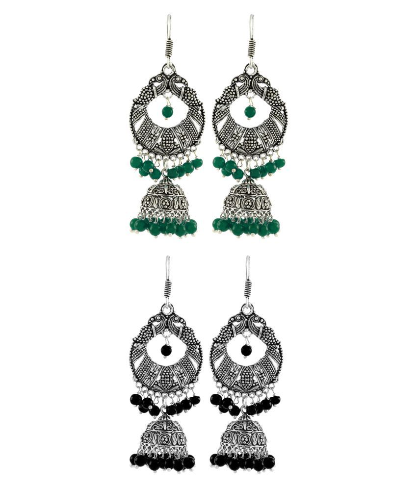The Jewelbox Bali Antique Leaf Multicolor Oxidized German Silver Jhumki Earring Combo For Women