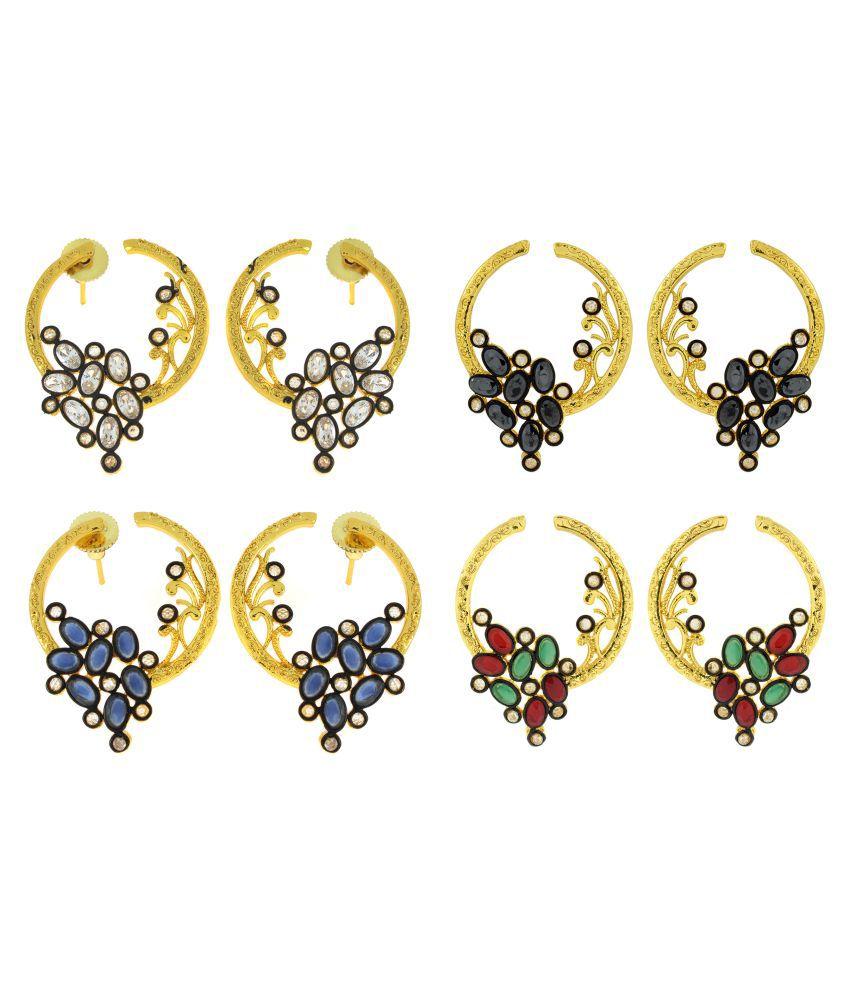 The Jewelbox Flower Filigree Victorian Kundan American Diamond Gold Plated Crescent Stud Earring Combo For Women