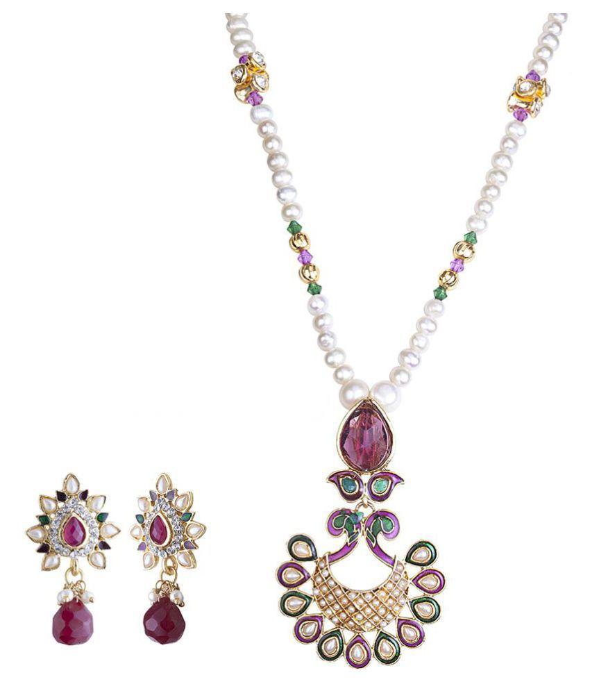 DDPearls 9k Rose & White Gold Necklace Set