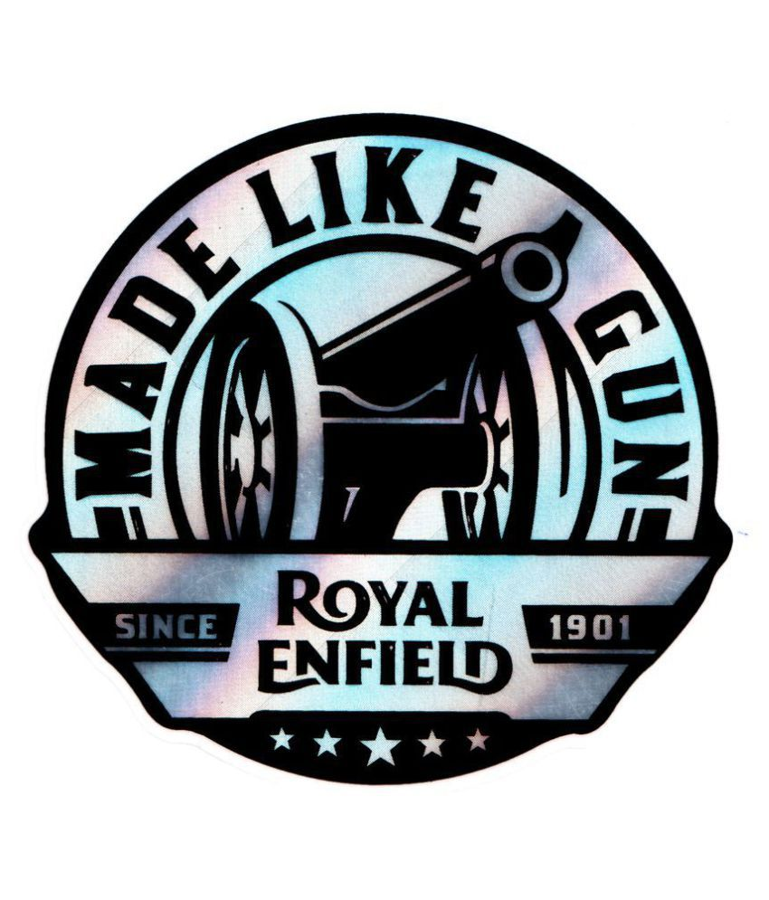 High quality precut waterproof made like a gun royal enfield canon mettalic silver black sticker for royal enfield medium size buy high quality precut