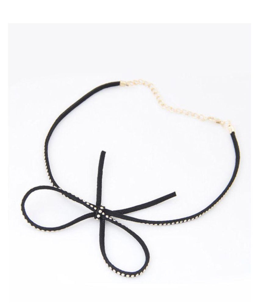 Jewel Touch Gold Plated Color Bowknot Shape Decorated Choker