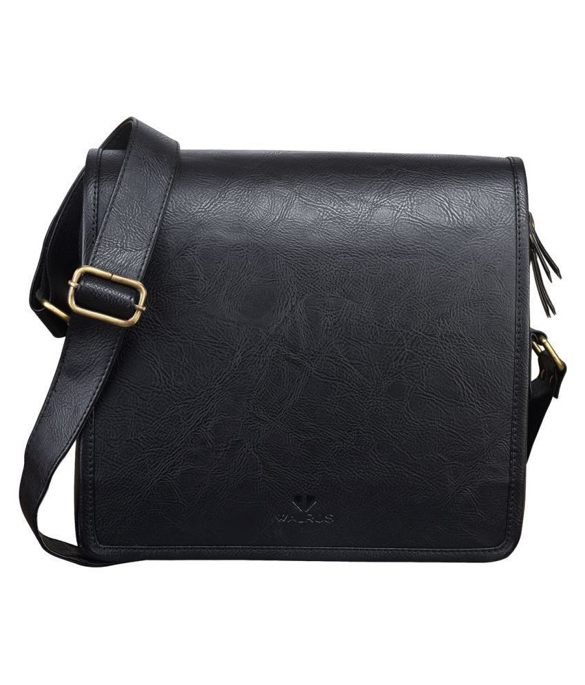 Walrus WMB-MRN-020202 Black Synthetic Casual Messenger Bag