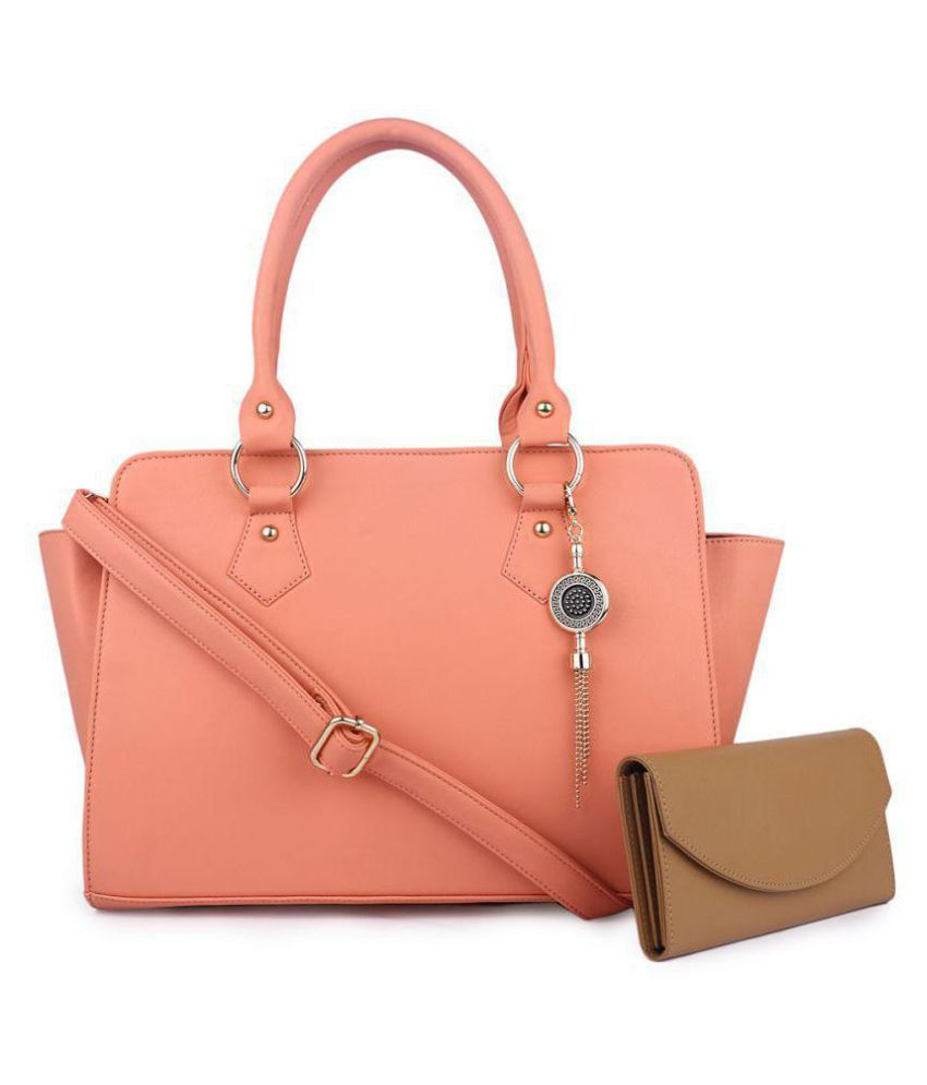 Women marks PeachPuff Faux Leather Combo