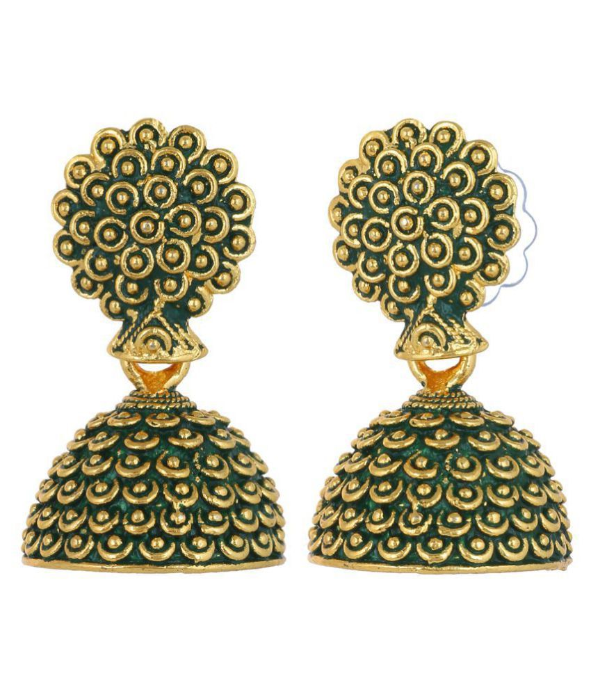 CTW Greenish Golden Plating Casual Jhumka Gift for her Alloy Jhumki Earring