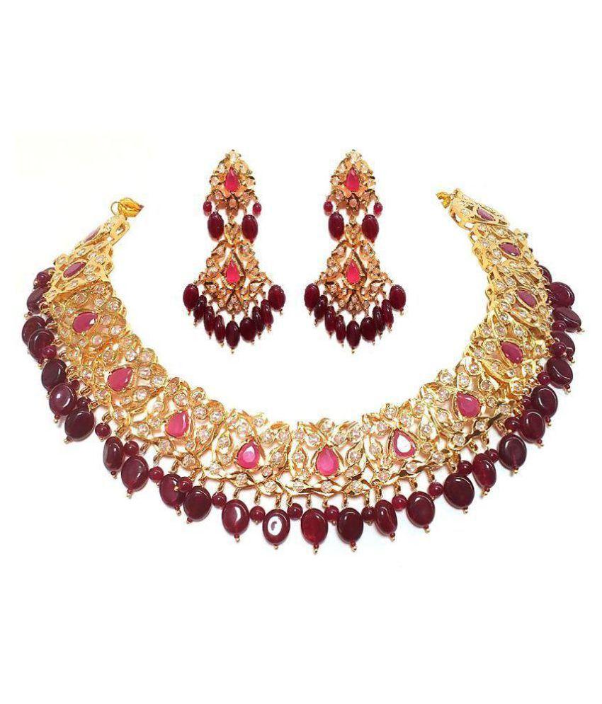 High fashion Real Ruby Hyderabadi Nizami Haar for women Gold ...