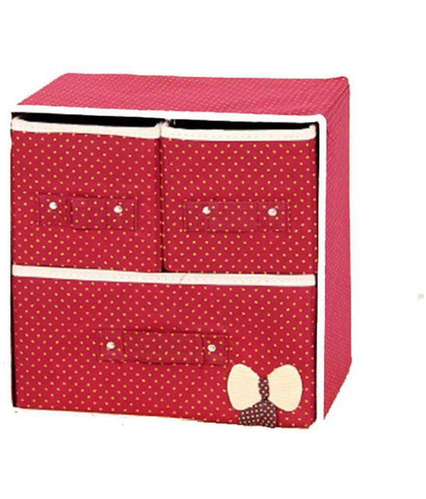 Swadec Folding 3 Drawer Fabric Storage Box Organizer Boxes For Clothing  /Jewelry /Underwear ...