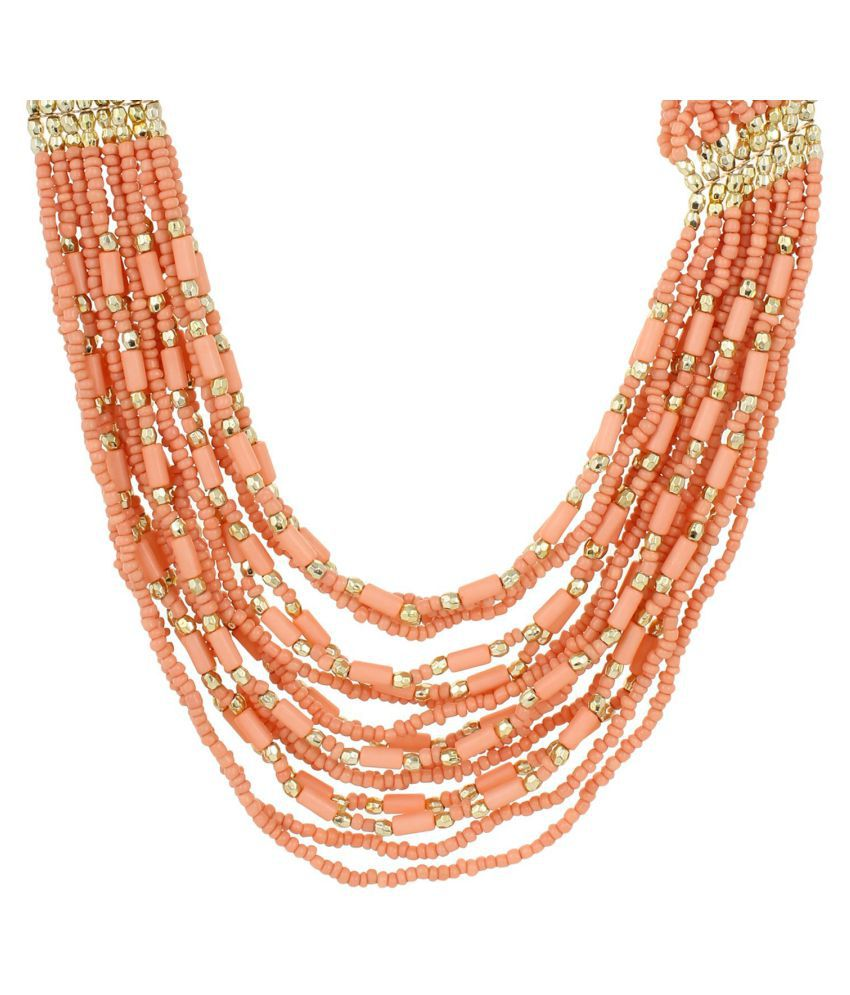 Fayon Chunky Fashion Multilayer Pink Bead Chain Crew Necklace