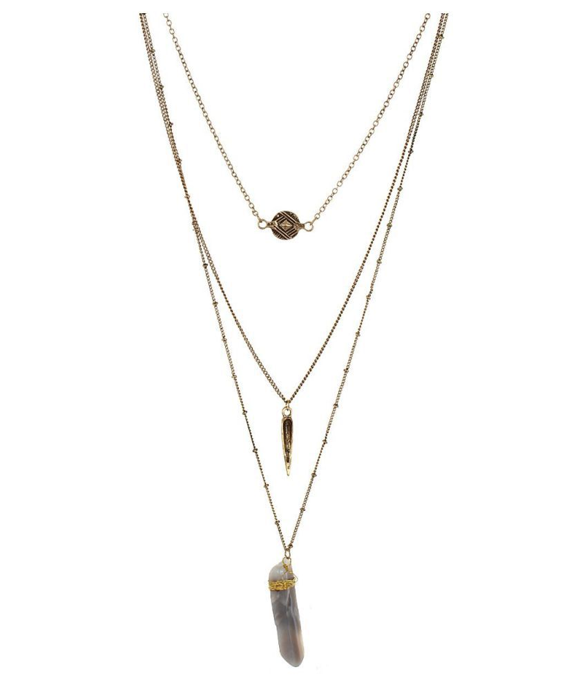 Fayon Weekend Party Antique Layered Chains and Natural Stone Necklace