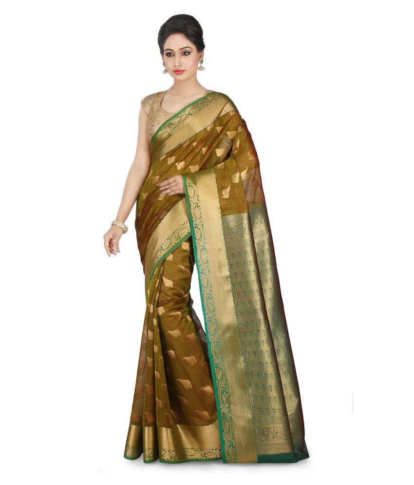 Platinum Green Cotton Silk Saree
