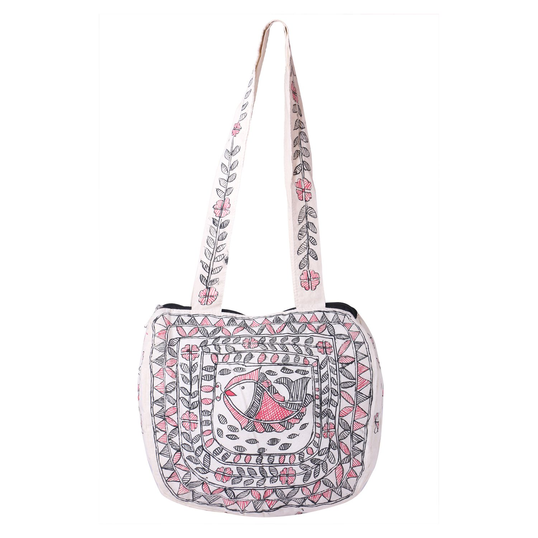 Imithila White Cotton Shoulder Bag