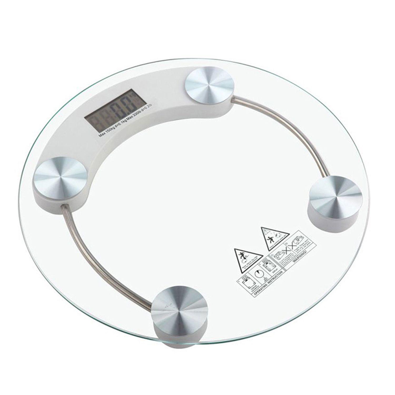 AmtiQ AmtiQ Glass Round Personal Weighing Machine 150kg 8mm_round_150kg White