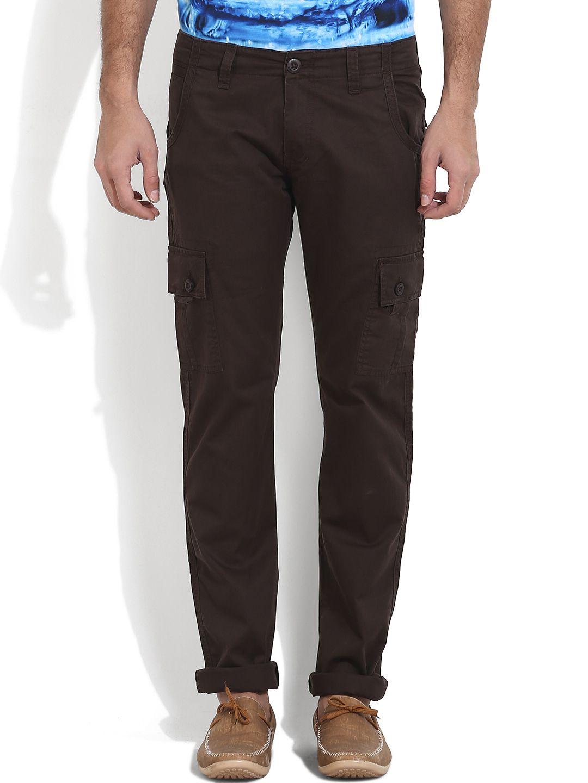 Wear Your Mind Dark Brown Slim -Fit Flat Cargos
