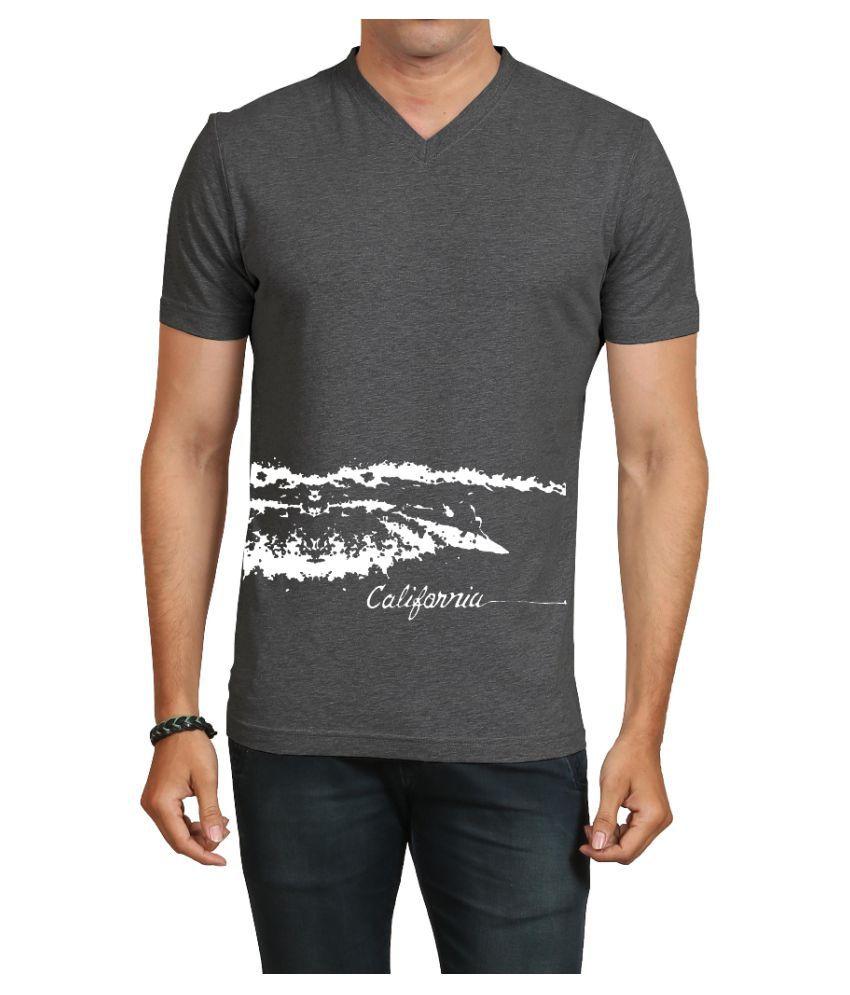 IND TWIST Grey V-Neck T-Shirt Pack of 1