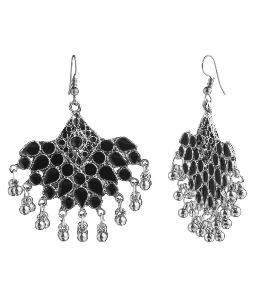 Archi Collection Designer Oxidised German Silver Plated Black Afghani Chandbali Hook Dangler Earrings for Girls and Women
