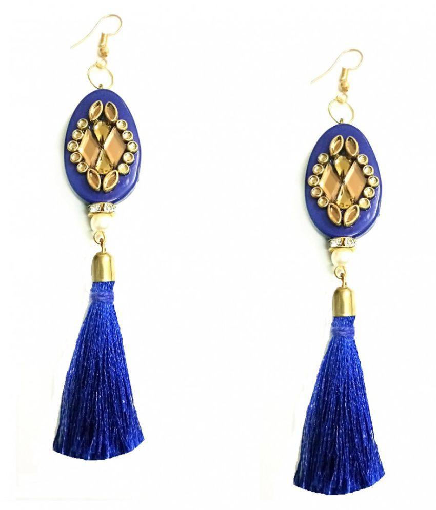 Turqueesa Beaded Mirror StoneWork Oval Playful Tassel Long Dangler - Blue