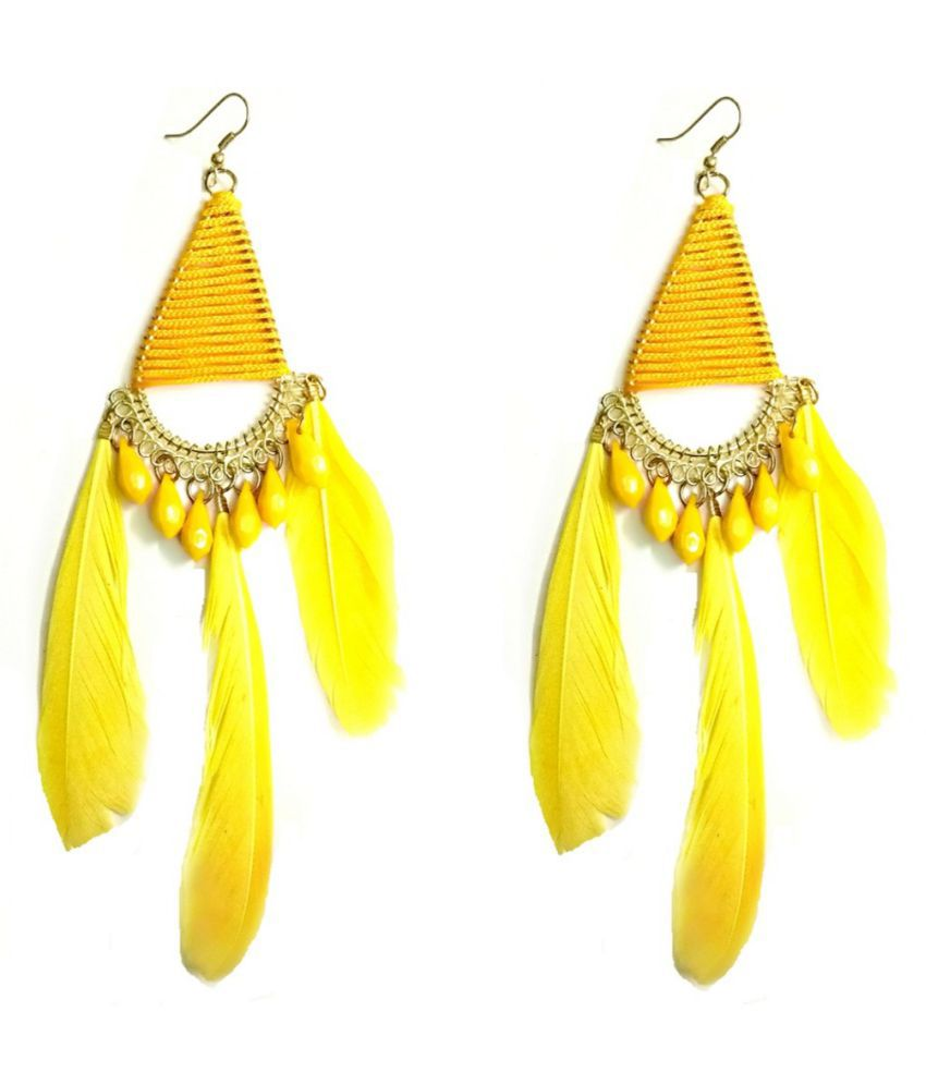Turqueesa Beaded Triangle Style Long Feather Tassel Dangler - Yellow